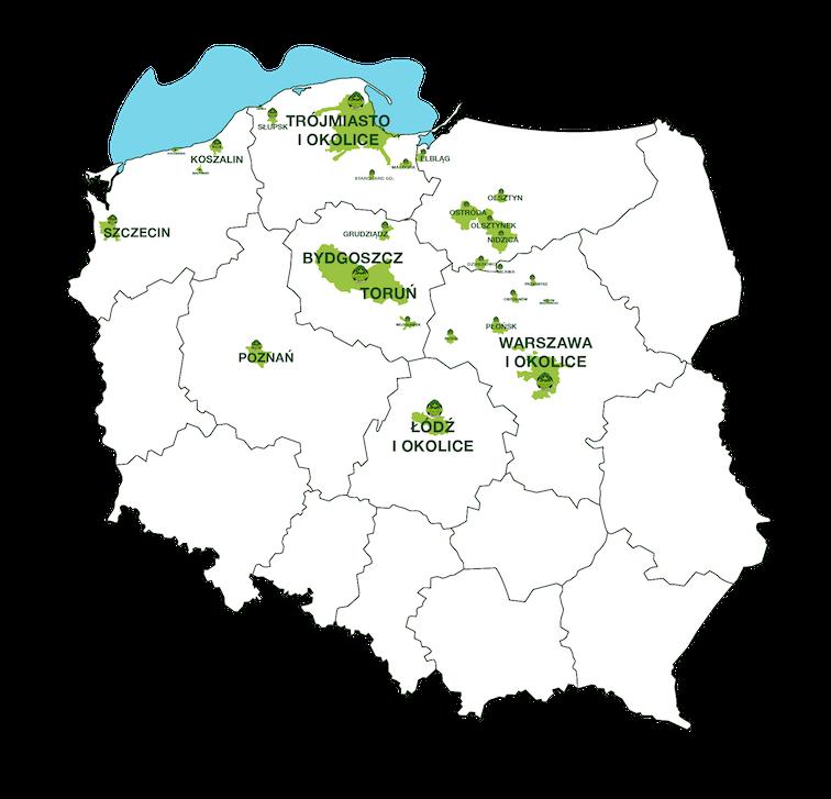 Mapa z obaszarami dostawy